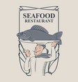 seafood restaurant with the smiling chef and fish vector image vector image