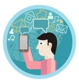 Man hold smartphone call and sends message vector image