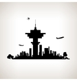 Silhouette control tower at the airport vector image