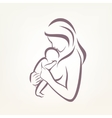 mom and baby stylized symbol outlined sketch vector image