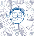 art colorful drawing of happy person education and vector image