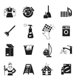 Cleaning Black White Icons Set vector image