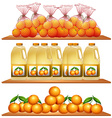 Fresh oranges and juice on the shelves vector image