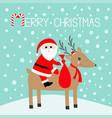 merry christmas santa claus holding gift bag cute vector image