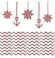 Red and white nautical template vector image