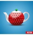 Teapot in the form of a large strawberry vector image