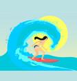 the surfing girl the brunette vector image