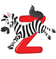 Cartoon zebra with alphabet Z vector image