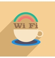 Flat with shadow icon and mobile application wi-Fi vector image
