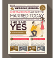 Cartoon Newspaper Journal Wedding Invitation vector image vector image