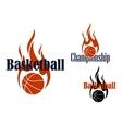 Basketball game symbols with flaming balls vector image