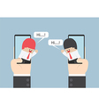 Two businessmen communicate on smartphone with spe vector image