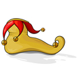 Yellow clown shoes with round bells eps10 vector image