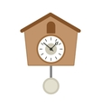 Vintage wooden cuckoo clock icon flat style vector image