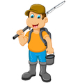 funny Little boy fishing vector image vector image