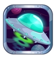 Cartoon app icon with flying ufo ship vector image