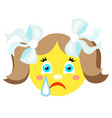 Smiley girl cries icons on a white background vector image