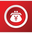 Yen purse icon on red vector image