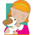 little girl and puppy vector image vector image