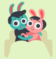 Cute Bunny Couple Hugging on Sofa vector image