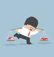 Businessman carrying house and car on his shoulder vector image