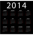 Calendar for 2014 on black background vector image