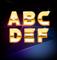Golden Shiny Alphabet form A to F vector image