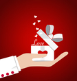 Happy valentines day Hand with Valentines day gift vector image
