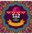 mexican shugar skull with mustache and sombrero vector image