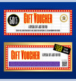movie ticket sign theme gift voucher or gift vector image