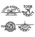 vintage tour agency emblems vector image
