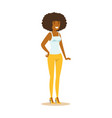 cheerful african american girl with beautiful vector image