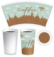 template paper cup with old town and inscription vector image