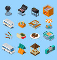 bbq picnic isometric set vector image