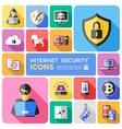 Internet Security Decorative Flat Icons Set vector image