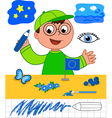 Color game boy with blue objects vector image vector image