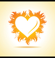 Abstract valentine day card with fire heart vector image