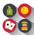 casino entertaintment set icons vector image