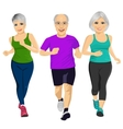 group of senior runners running together vector image