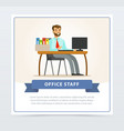 happy bearded man in formal clothing sitting at vector image