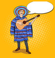 pop art mexican man in poncho playing guitar vector image