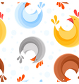 Seamless pattern design with stylized chicken icon vector image