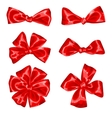 Set of red satin gift bows and ribbons vector image