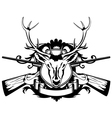 Rossed guns and head of deer vector image