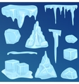 Set of ice caps snowdrifts and icicles elements vector image
