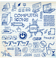 doodle computer icons vector image vector image