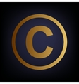 Copyright sign Golden style icon vector image