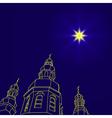 Christian christmas church with a Christmas star vector image