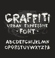 handwritten brush font with shabby texture vector image