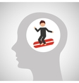 head silhouette surfer extreme sport vector image